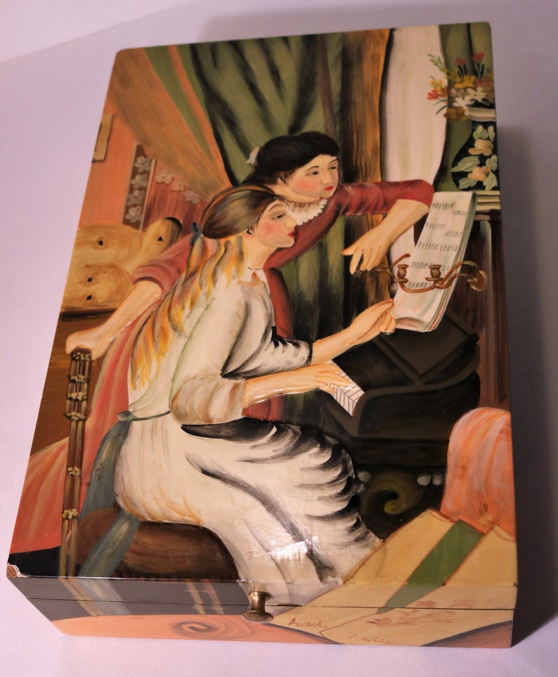Artist Signed Beautiful /& Unique 12 Renoir Two Young Girls at Piano Lacquer Box