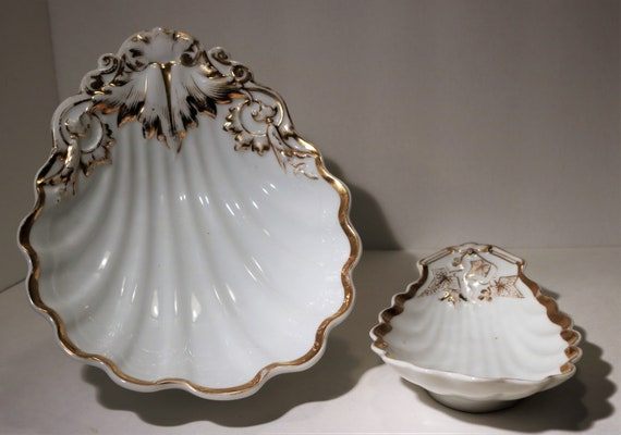 Hot Of The Estate...1800's Old Vieux Paris Scalloped Sea Shell Serving Dishes W/Gold Gilt by Etsy