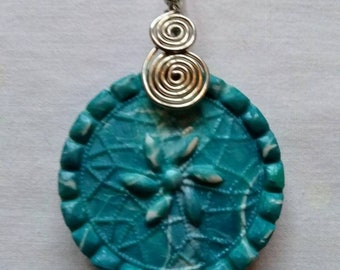 Handmade Silver Wired Polymer Clay Flower Necklace Pendant, Mokume Gane in Blue