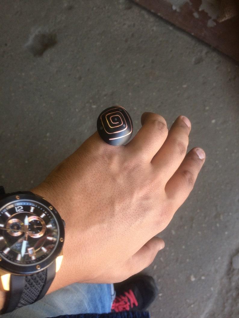 Handmade Rings For Men  Unique Rings For Men  Mens Bands  Women Ring Egoist Ring #2 \u2122 Polymer + Copper + Lead + Sapele Tree Wood