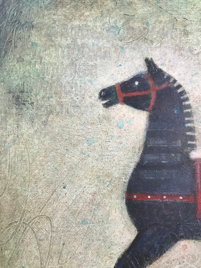 folk art Rocking Horse MimziArt green whimsical square original acrylic painting antique toy 8x8