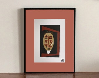 African mask - abstract painting on paper