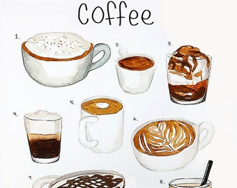 Coffee Chart Etsy