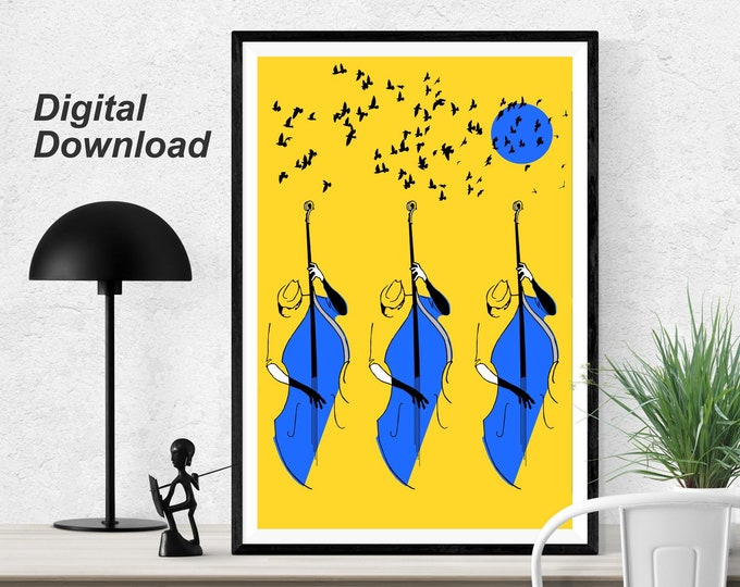20x30 Bass Trio - Yellow - Instant Download