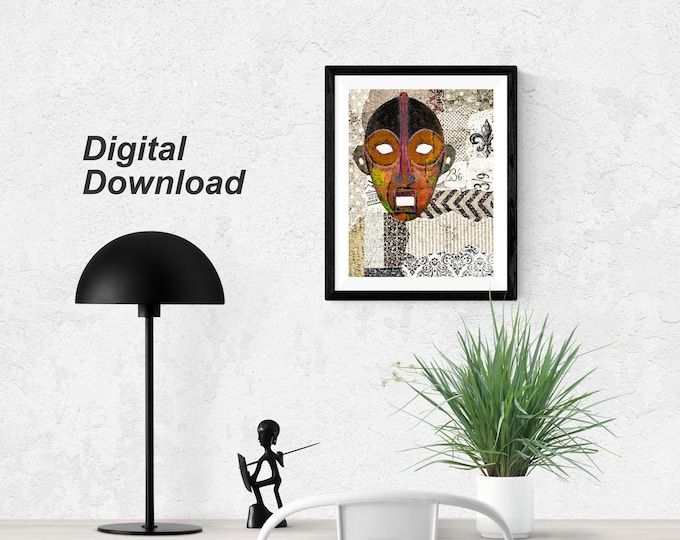 African Kinywa Mask Collage - Instant Download