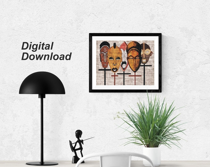 African Kabila Masks  - Instant Download