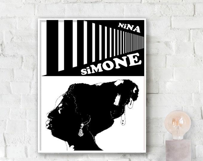 Nina Simone - White Jazz Poster