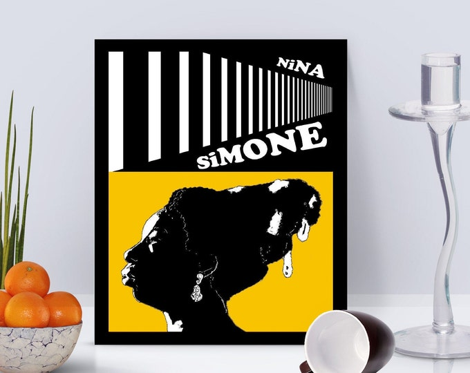 Nina Simone Yellow Framed Poster