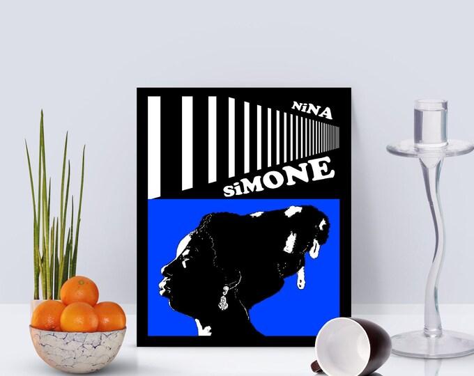 Nina Simone Blue Framed Poster