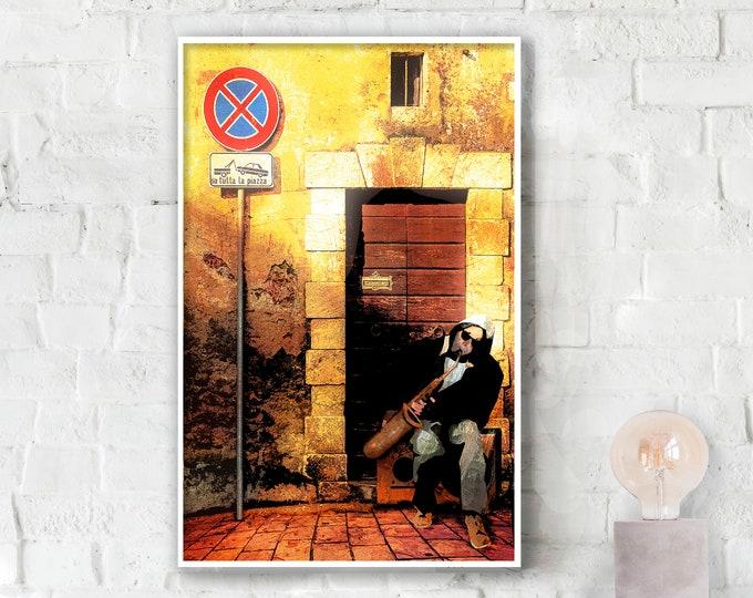 Street Saxophone - Urban Wall Art Poster
