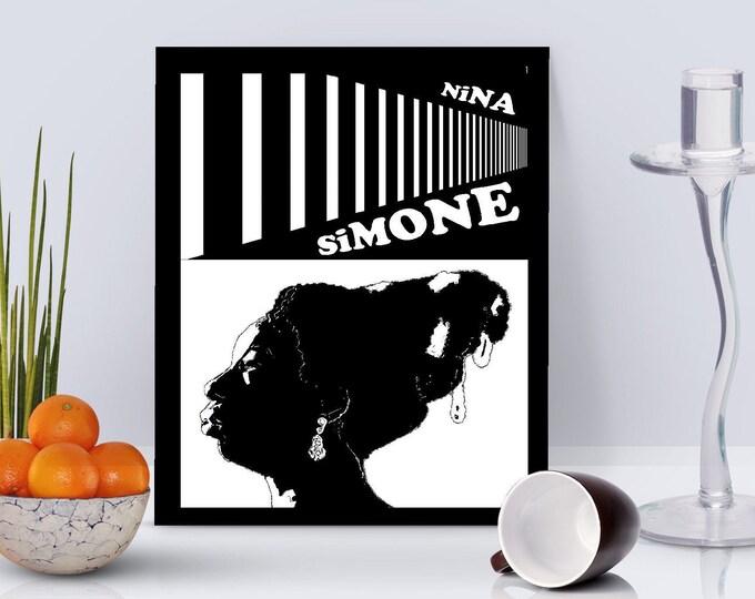Nina Simone White - Framed Print