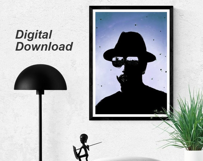 Black and Blue Dude - Instant Download