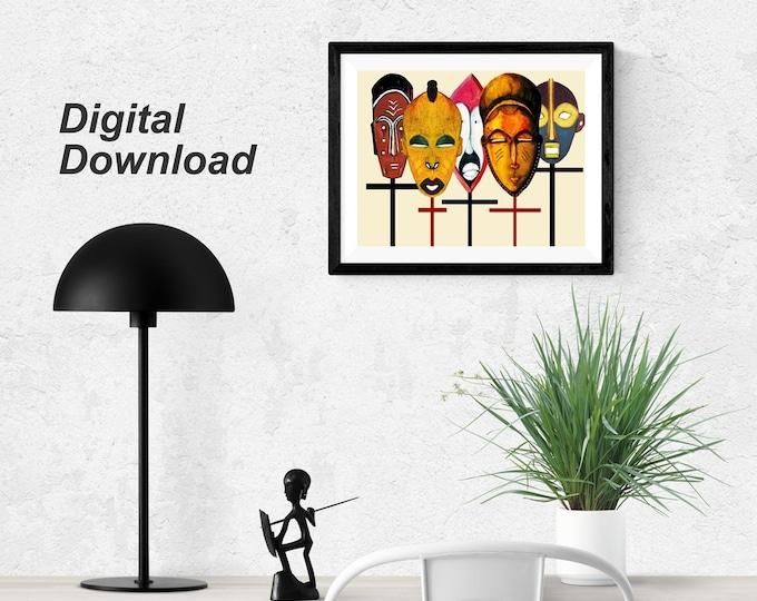 African Kabila Masks II - Instant Download