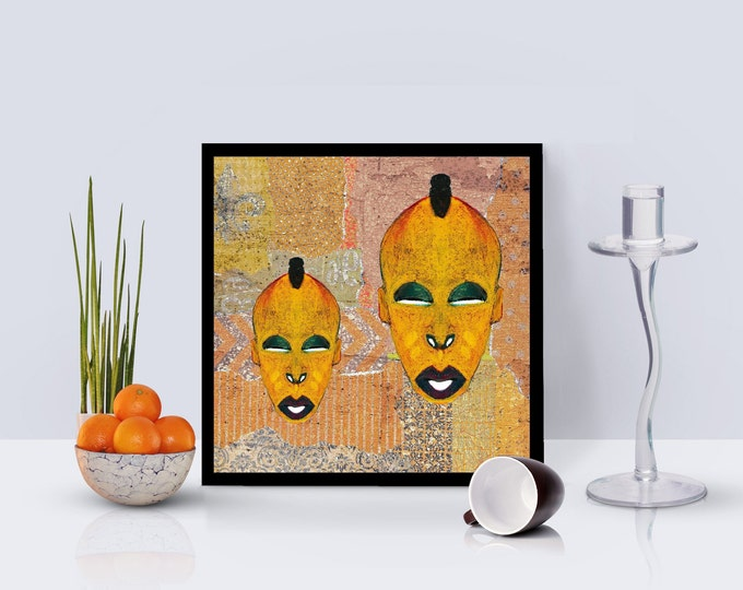 Mdomo Double Mask Collage Framed Poster