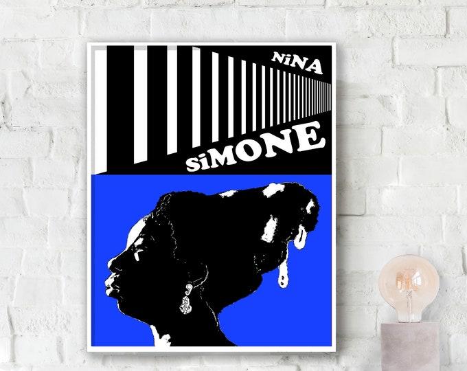 Nina Simone Blue Jazz Poster