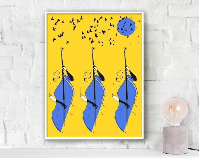 Bass Trio Jazz Poster
