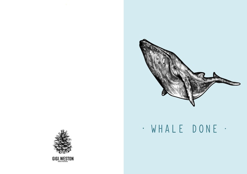 Card For Him Animal Cards Graduation Whale Done New Job Card Card For Her Pun Congratulations Card Well Done A6 Greetings Card