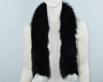 43356b034833 Les foulards des femmes fourrure véritable renard écharpe col chaud  accessoires de fourrure de couleur noir et blanc de haute qualité douce et  épaisse ...
