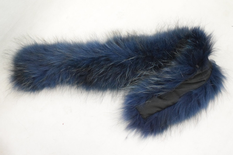 Real Fur Finn Raccoon trim for hood blue black color fur strip accessories for Jackets and coats  Unisex Mens Womens