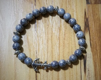 Graphite Gray Anchored Bead Bead Bracelet