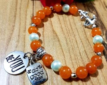 Nautical Orange and Teal Bead Bracelet