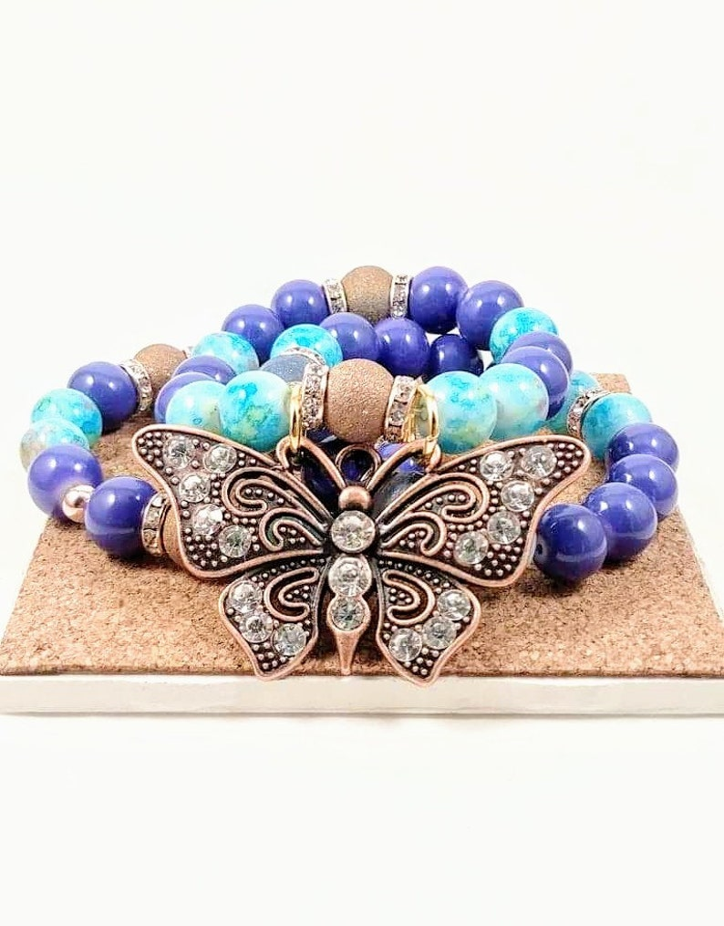 Blue Gold Leaf Style Glass Bead Deep Blue Glass Beads Mini Gold Beads Silver Spacer Beads Studded Rondelle Bronze Large Butterfly Charm