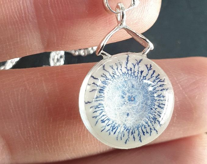 Small Blue Glass Pendant - Glowing Glass Pendant - Handmade Glowing Pendant - Pendant Glowing - by Maria Marachowska