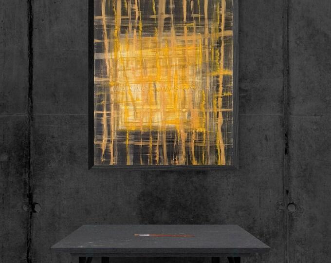 Canvas Abstract Painting Lines, Acrylic Abstract Painting On Canvas, Abstract Painting, Framed Painting, by Maria Marachowska
