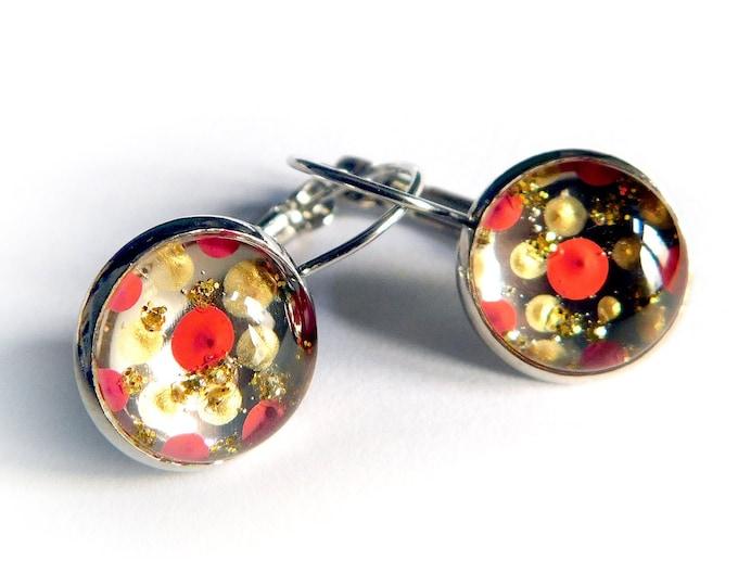 Unique Red Brass Earrings - Red Brass Earrings Handmade - by Maria Marachowska