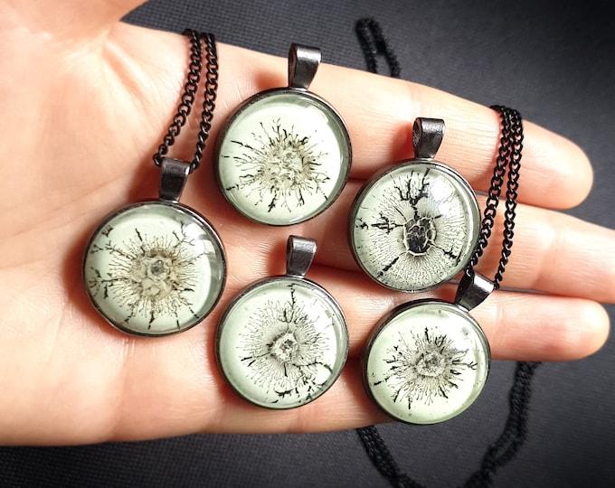 Spider Pendant - Horror Pendant - Spider Pendant Jewellery - Horror Black White Jewelry - Glowing Spider - by Maria Marachowska