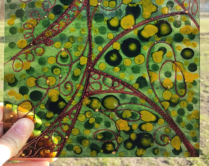 Green Glass Painting - Stained Glass Painting - Abstract Glass Painting - by Maria Marachowska