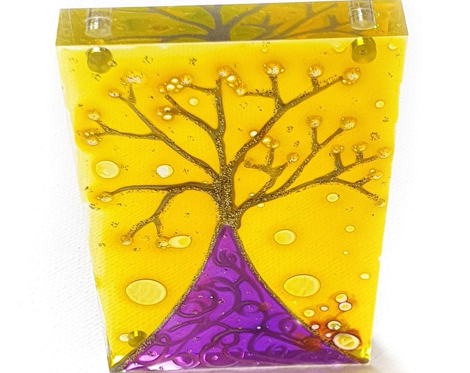 Tree Glass Painting, Suncatcher Tree, Glass Magnet Tree, Purple Glass Artwork, Purple Tree, Magnet Tree, Tree Painting, by Maria Marachowska