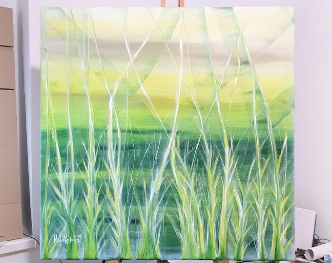 Original Canvas Painting Field, Original Painting Large Abstract, Large Abstract Wall Art Nature, Abstract Painting, by Maria Marachowska