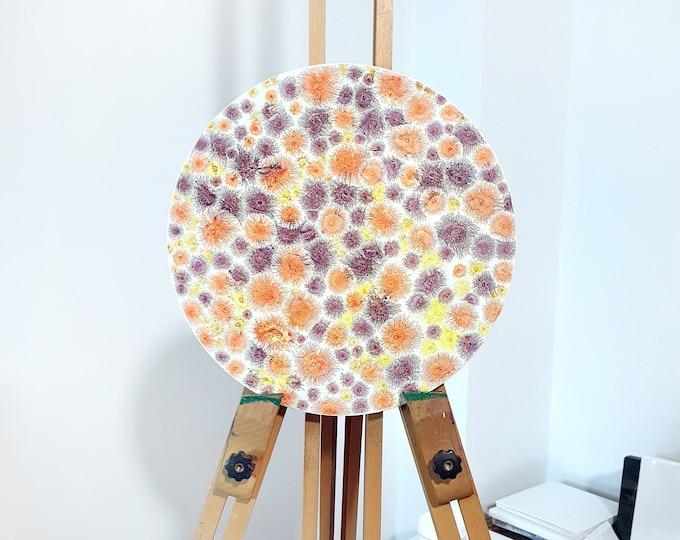 Colorful Moon Painting, Abstract Painting Moon, Circular Painting, Canvas Painting, Moon Artwork, Glowing Painting, by Maria Marachowska