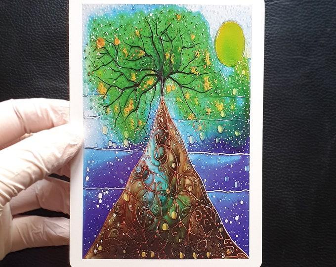 Postcard Painting Tree, Postcard Print Tree, Seascape Postcard, Postcard Nature Tree, Tree, Postcards, by Maria Marachowska
