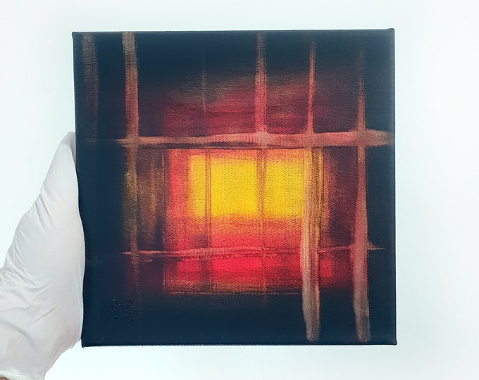 Abstract Painting Red Sunset, Original Canvas Painting Acrylic Sunset, Original Canvas Artwork Sunset, by Maria Marachowska