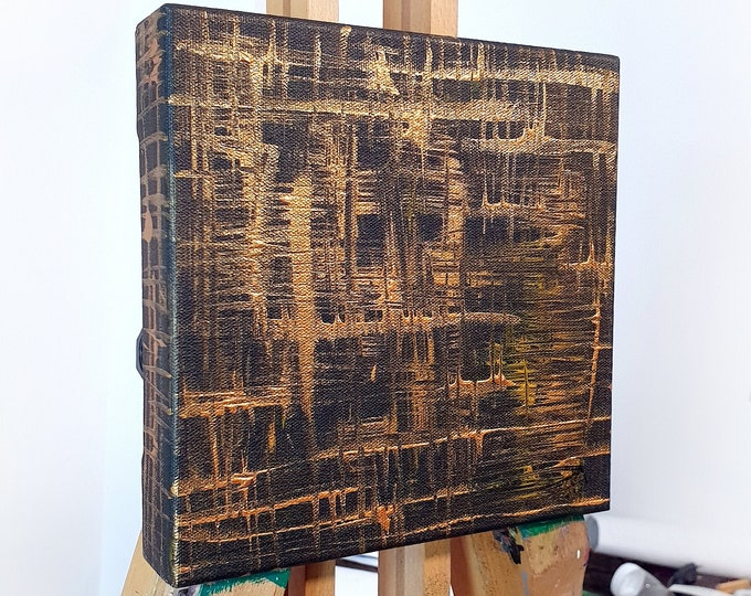 Lines Canvas Painting, Gold Black Original Canvas Painting, Sculpture Canvas Painting, by Maria Marachowska
