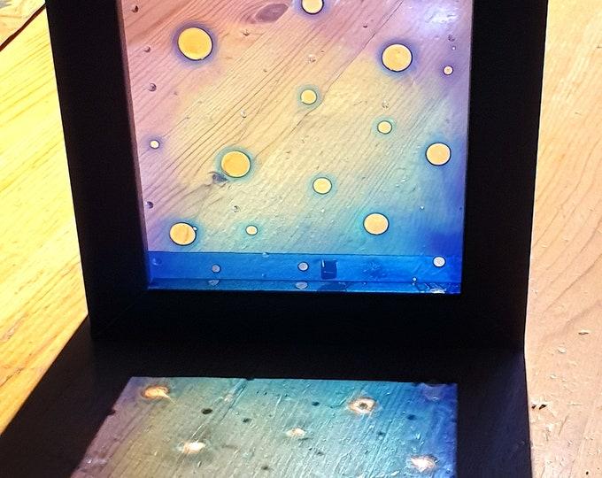 Blue Glass Painting Framed, Suncatcher Abstract, Minimalism Painting Blue, Glass Painting, Glass Artwork, Blue Painting,by Maria Marachowska