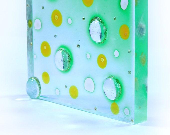 Gemstone Painting, Green Glass Painting, Green Gemstone Painting, Glass Sculpture, Glass Painting Abstract, Glass Art, Maria Marachowska