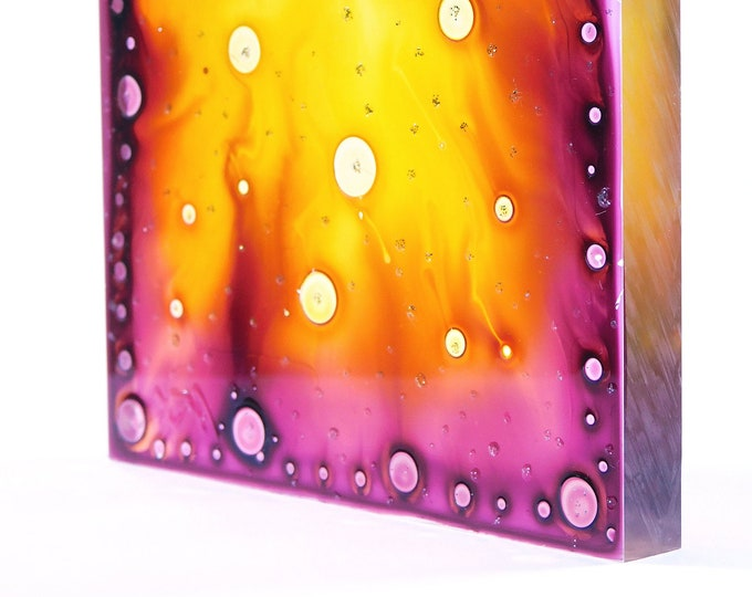 Original Painting Fire, Glass Painting Fire, Fire Painting, Suncatcher Fire, Glass Sculpture Fire, Glass Artwork Fire, by Maria Marachowska