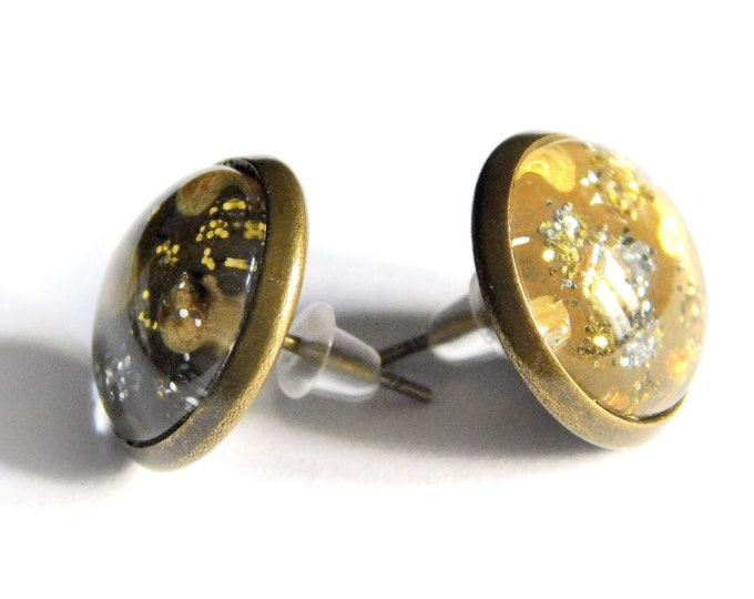 Gold Bronze Earrings, Glitter, Hand Painted, Mushrooms, Unique Jewelry, Original  Earrings, Charm Earrings, Maria Marachowska