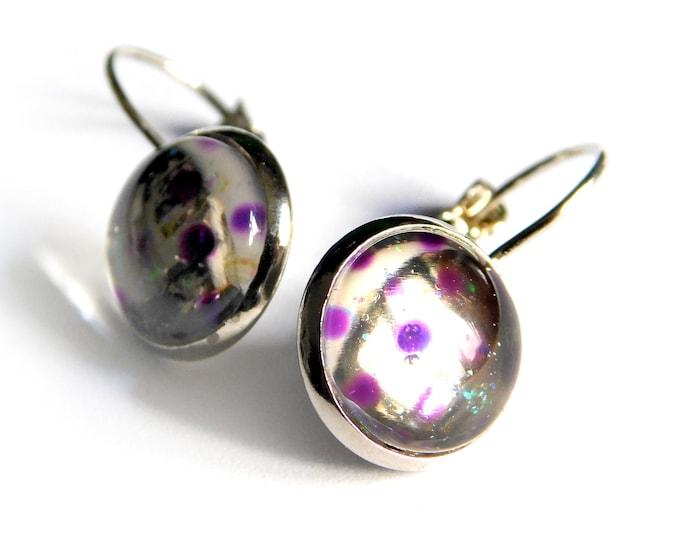 Painted Earrings Purple - Handmade Earrings Purple Brass - Purple Brass Glass Jewelry - by Maria Marachowska