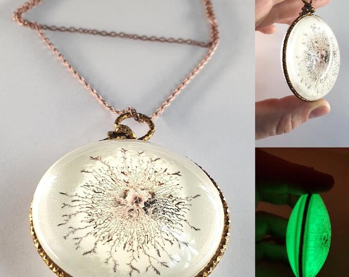 Pendant Jewelry Glow 95, Glass Painting , Glow Jewelry, Hand Painted Handmade, Glow Necklace, Unique Necklace, Maria Marachowska