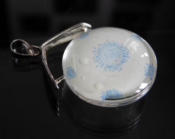 Handmade Glow Necklace - Blue Glow Necklace - Pendant Glass Glow - by Maria Marachowska