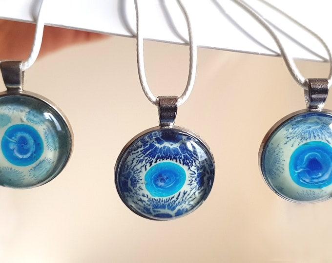 Blue Pendant Necklace Painting, Glowing Pendant, Original Handmade Pendant Blue, Glowing Jewelry, Pendant, Jewelry, by Maria Marachowska