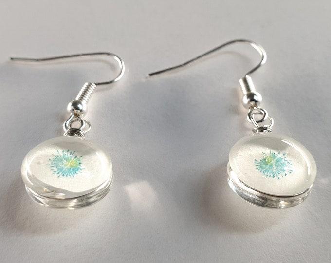 Glass Earrings Glow - Handmade Glass Earrings Jewelry Unique - Small Glass Earrings Jewelry Unique - by Maria Marachowska