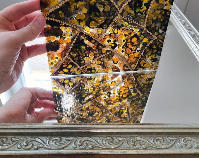 Gold Suncatcher Art, Abstract Glass Painting, Stained Glass Painting, Abstract Gold Painting, Autumn Painting, by Maria Marachowska
