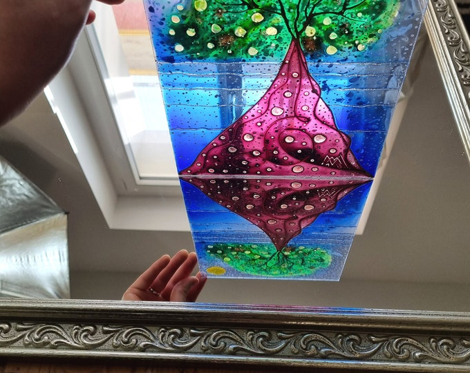 Glass Painting Tree, Seascape Glass Painting, Original Tree Painting, Suncatcher Tree, Stained Glass Tree, by Maria Marachowska