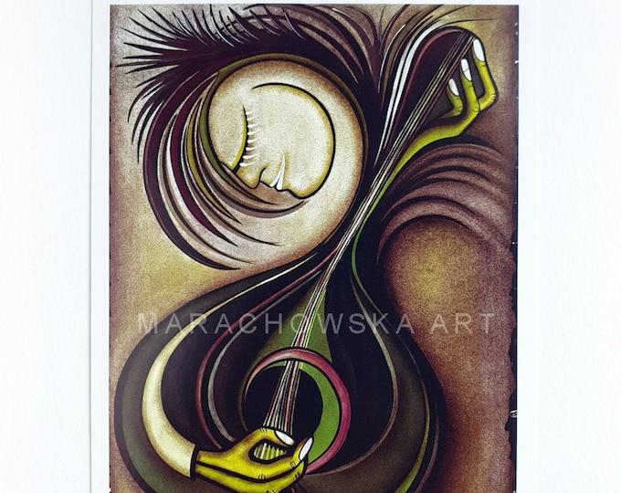 Postcard Instrument, Music Postcard, Song Postcard, Art Postcard, Postcard, Artist Postcard, by Maria Marachowska