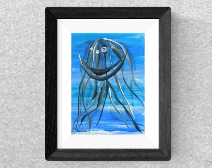 Painting Medusa - Watercolor Painting Water Animal - Watercolor Painting Original Water - by Maria Marachowska